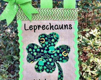 St. Patrick's Day Garden Flag- Saint Patty's Day Burlap Flag- Luck Of The Irish Flag- Leprechauns Welcome - Spring Garden Flags-Shamrock
