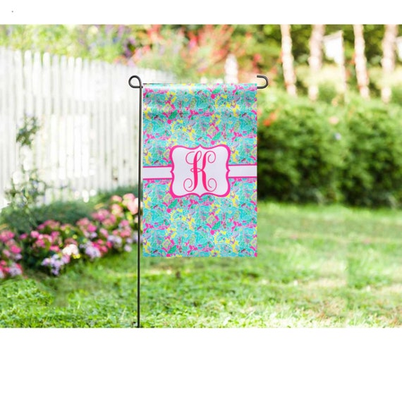 Personalized Initial Garden Flag Watercolor Flags Beach Flags