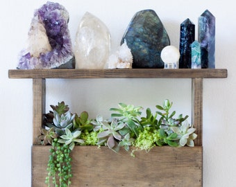 Vertical Wall Planter Box Pallet Style & Crystal Display Shelf | Succulent Wall Planter Box | Vertical Garden Planter