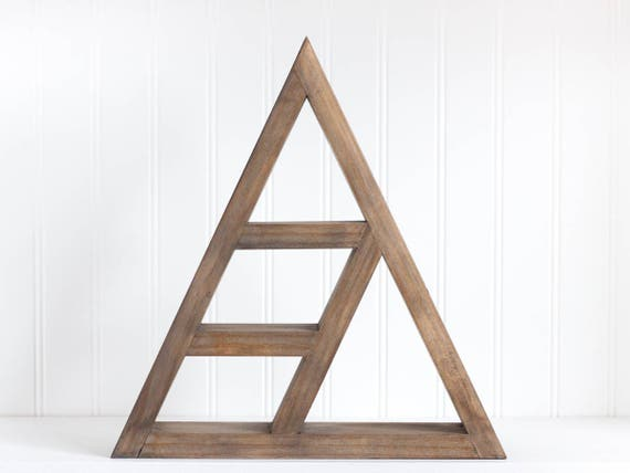 Geometric Triangle Crystal Display Shelf Oxidized Wood Etsy