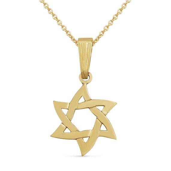 14K Gold Filigree Jewish Star of David pendant Charm Magen David in Hebrew