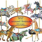 Carousel Animals SVG Clipart, Carousel Horses, Horses Clipart, Commercial, Elephant Clipart, Merry-Go-Round, Pegasus, Giraffe, Tiger