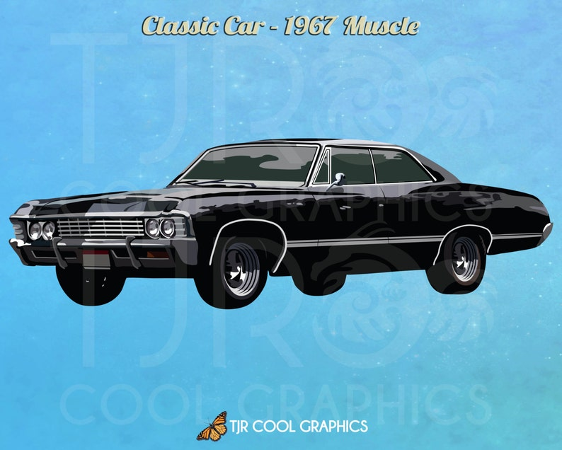 Classic Car 1967 Muscle, Digital, Realistic Clip Art, Commercial, PNG,  Printable, Vehicle, Engine