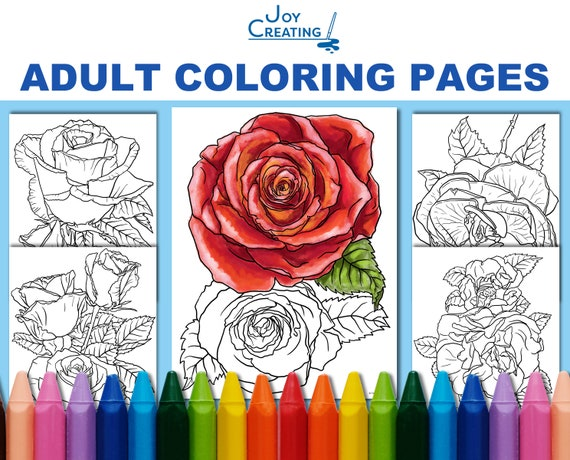 coloring pages for adults roses coloring sheets jpg printable diy hand drawn flowers instant download adult coloring sheet