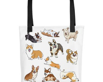 Corgis Everywhere, Tote bag, Funny Dogs, Cartoon Canines, Humor
