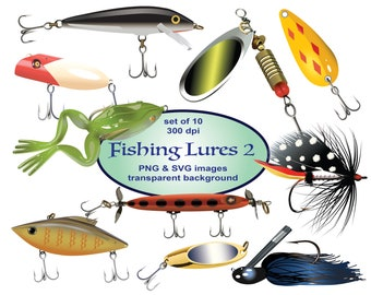 Fishing Lures Clip Art, SVG Clipart, Fishing Clipart, Sports Clipart, Printable, Spoon, Spinner Bait, Rattler, Frog, Bass, Muskie, Pike