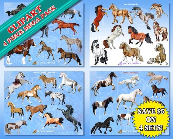 Clipart Cheval Gratuit lot de mega 4 chevaux poneys clip art réaliste éducatif | etsy