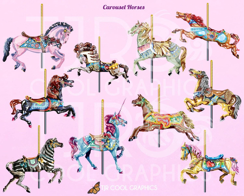 Carousel Horses Digital Realistic Clip Art PNG Printable ...