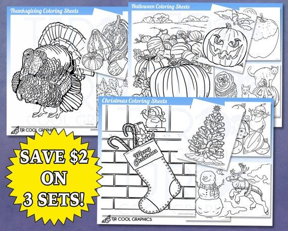 Holiday Coloring Sheets Kids Digital Realistic Christmas | Etsy