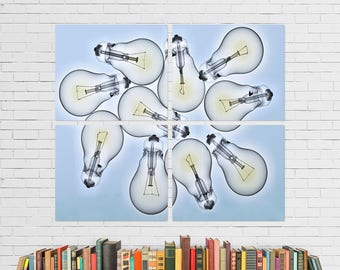 Light Bulbs 10 Foci Quadriptych Metal Wall Art