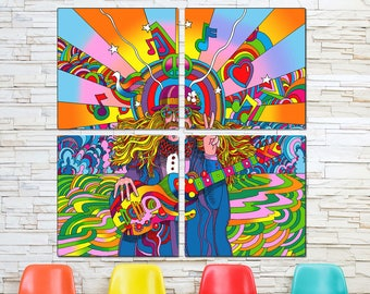 Hippie Musician 60s Style Quadriptych Metal Wall Art Pop Art