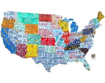 License Plate State Map.Usa State License Plate Map Wall Decal 48386 Etsy