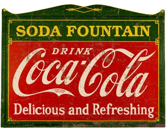 4f97f633b2d Drink Coca-Cola Deco 1920s Style Wall Decal Distressed (Choose Wording  Option)