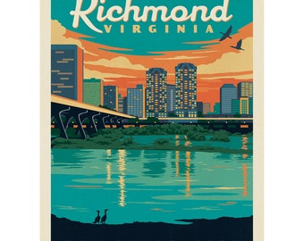 Richmond  Virginia  VA     Vintage  1950/'s Style  Travel Decal Sticker