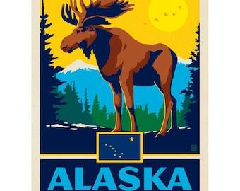 Denali Moose Alaska Scrapbook sticker decal The last Frontier wildlife