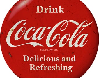 50b5f8b6356 Drink Coca-Cola Red Disc Decal Delicious 1930s Style Distressed