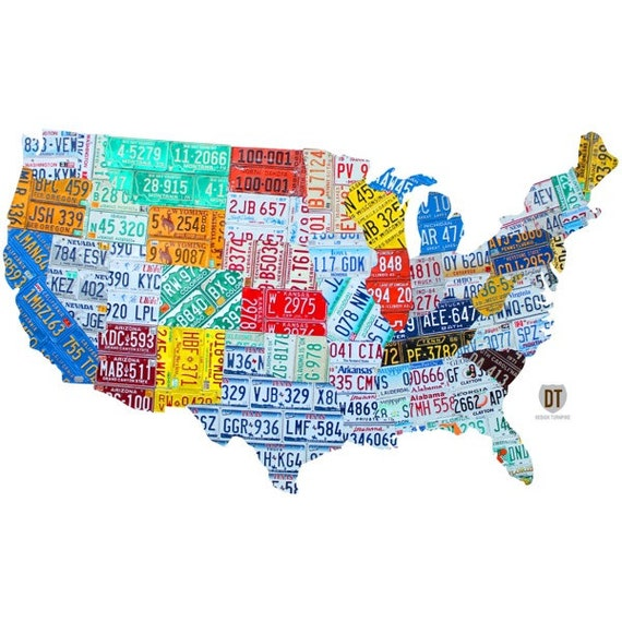 License Plate United States Map.United States License Plate Map Wall Decal 48384 Etsy