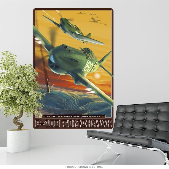 P 40b Tomahawk Wwii Pearl Harbor Wall Decal Etsy