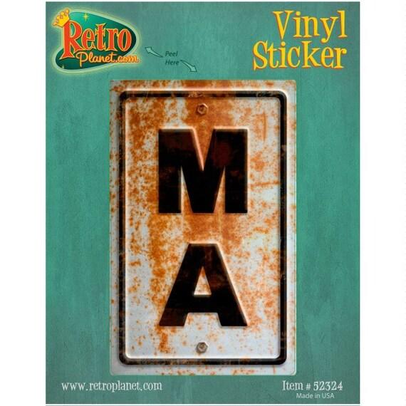 Massachusetts MA State Abbreviation Rusted Vinyl Sticker