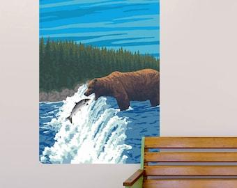 Bear Salmon Fishing in a River Wall Decal - #60967