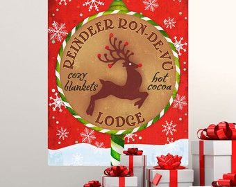 Reindeer Ron-De-Vu Lodge Christmas Wall Decal - #68314