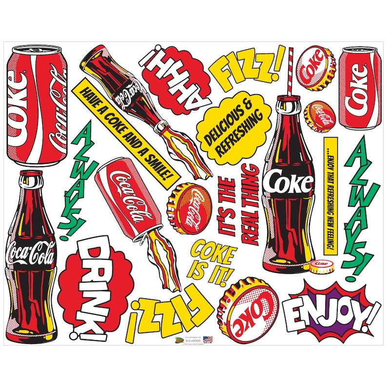 5d17f171598bf0 Coca-Cola Pop Art Cans Bottles Words Decal Set | Etsy