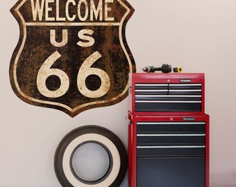 Route 66 Welcome Distressed Wall Decal - #48688