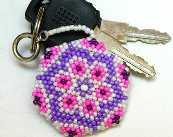 Winter flower beaded keychain seed beads keychain beaded key fob unique keychain flower keychain small gifts for her inexpensive gift