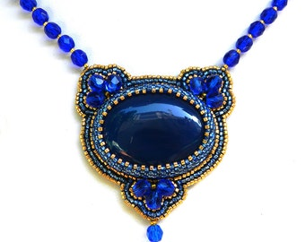 Arabian Nights royal blue necklace bead embroidery unique pendant blue necklace with blue agate blue and gold statement necklace