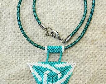 Beaded Celtic Knot pendant beaded necklace white and turquoise everyday jewelry Celtic necklace with triangular pendant for her