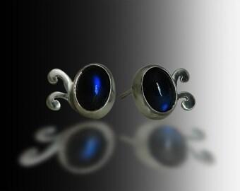 Gift for her Elfin Magic unique earrings sterling silver earrings with royal blue labradorite stud earrings refined jewelry for women