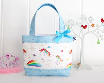 Little Girls Bag - Kids Bag - Girls Bag - Mini Tote Bag - Girls Birthday Gift - Unicorns and Aqua Sparkle