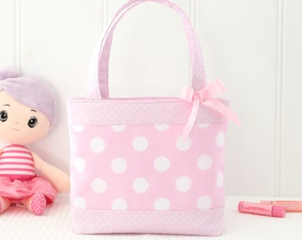 Mini Tote Bag / Girls Bag / Kids Bag - Pink Spot