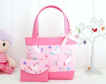Little Girls Tote Bag & Purse Set / Kids /Toddler Bag / Mini Tote Bag - Pink Unicorns