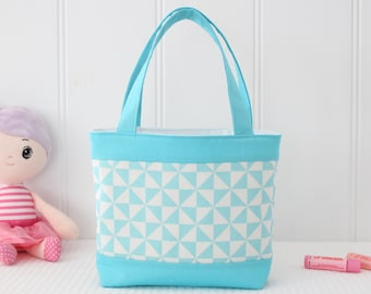 Little Girls Bag / Toddler Bag / Mini Tote Bag / Girls Bag / Kids Bag - Aqua and White Geometric