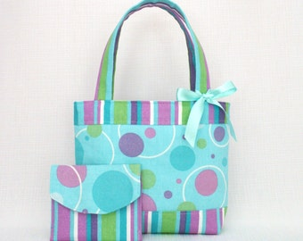 Little Girls Bag / Mini Tote Bag & Purse / Girls Bag / Kids Bag / Wallet - Mint Green Circles