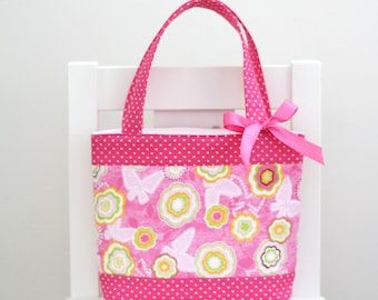 Little Girls Bag / Mini Tote Bag / Girls Bag / Kids Bag - Pink Floral & Hot Pink Spot