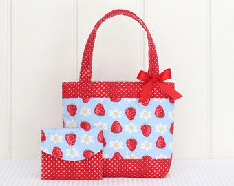 Mini Tote Bag & Purse / Girls Bag / Kids Bag / Wallet - Strawberries