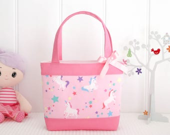 Little Girls Bag - Kids Bag - Girls Bag - Mini Tote Bag - Girls Birthday Gift - Pink Unicorn