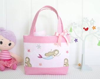 Little Girls Bag - Kids Bag - Girls Bag - Mini Tote Bag - Girls Birthday Gift - Mermaid Bag - Mermaids