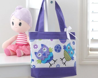 Little Girls Tote Bag / Kids Bag / Toddler / Preschooler Bag - Purple Owls
