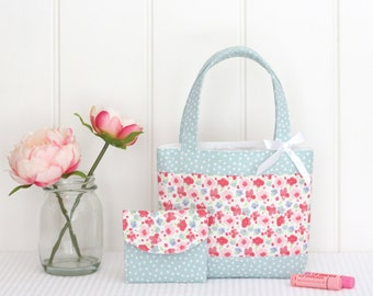 Little Girls Bag / Mini Tote Bag & Purse / Girls Bag / Kids Bag / Wallet - Pink Floral and Mint Spot
