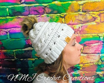 Crocheted Winter Hat For Women  Pom Pom Winter Hat  Baby Winter Hat  Mens  Hat  Slouchy Beanie  Beanie hat  Crochet Beanie  Womens Beanie  53965335f