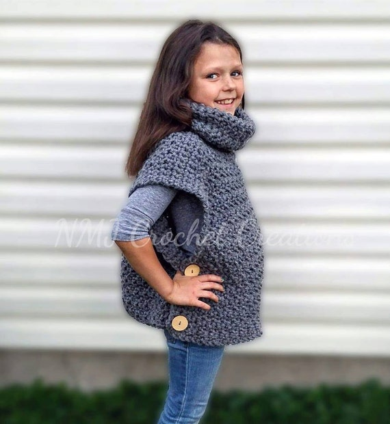 Crochet Cowl Neck Poncho Crochet Sweater Cowl Neck Sweater Etsy