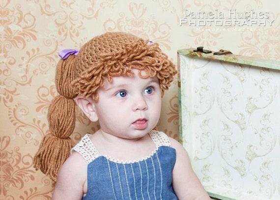 Chou Patch chapeau perruque de laine chapeau enfant   Etsy 5a0d8c2d910