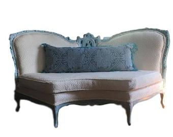 Antique Settee Cream Embossed Velvet   Antique Sofa