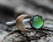 SOLID sterling silver and gold filled MOOD ring MOON phase half moon ring stacking mood ring Wiccan Ring Any Size