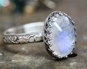 Rainbow Moonstone OVAL ring solid sterling stacking ring Any Size