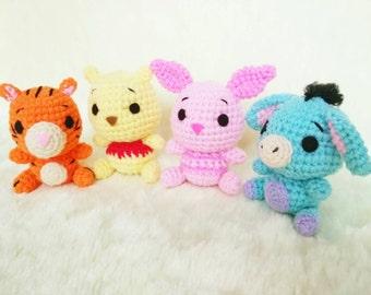 Winnie the Pooh Gang set 4 piece (pooh, piglet, eyore, tigger) : Amigurumi Crochet Doll Charm Keychain