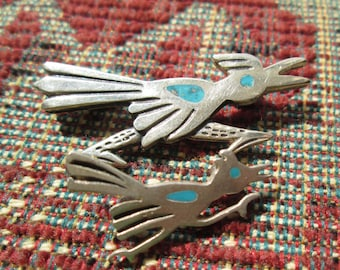 Roadrunner Inlay Sterling Brooches